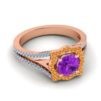 Ornate Halo Naksatra Amethyst Ring with Citrine and Swiss Blue Topaz in 18K Rose Gold