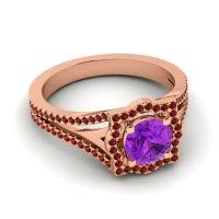 Ornate Halo Naksatra Amethyst Ring with Garnet in 14K Rose Gold
