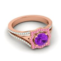 Ornate Halo Naksatra Amethyst Ring with Pink Tourmaline and Aquamarine in 18K Rose Gold