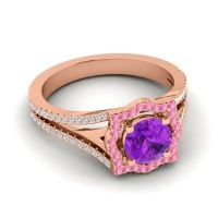 Ornate Halo Naksatra Amethyst Ring with Pink Tourmaline and Diamond in 14K Rose Gold