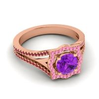 Ornate Halo Naksatra Amethyst Ring with Pink Tourmaline and Ruby in 14K Rose Gold