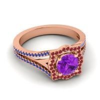 Ornate Halo Naksatra Amethyst Ring with Ruby and Blue Sapphire in 14K Rose Gold