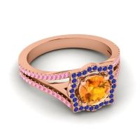Ornate Halo Naksatra Citrine Ring with Blue Sapphire and Pink Tourmaline in 18K Rose Gold