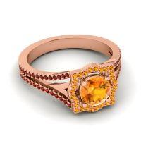 Ornate Halo Naksatra Citrine Ring with Garnet in 18K Rose Gold