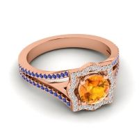 Ornate Halo Naksatra Citrine Ring with Diamond and Blue Sapphire in 14K Rose Gold