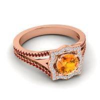 Ornate Halo Naksatra Citrine Ring with Diamond and Garnet in 14K Rose Gold