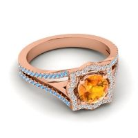 Ornate Halo Naksatra Citrine Ring with Diamond and Swiss Blue Topaz in 18K Rose Gold