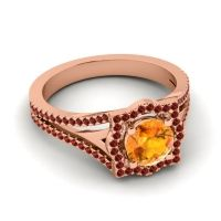 Ornate Halo Naksatra Citrine Ring with Garnet in 14K Rose Gold