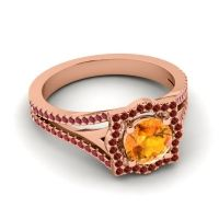 Ornate Halo Naksatra Citrine Ring with Garnet and Ruby in 18K Rose Gold