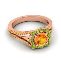 Ornate Halo Naksatra Citrine Ring with Peridot in 18K Rose Gold