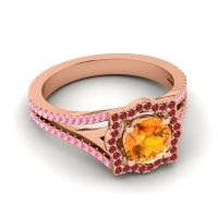 Ornate Halo Naksatra Citrine Ring with Ruby and Pink Tourmaline in 18K Rose Gold
