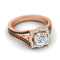 Ornate Halo Naksatra Diamond Ring with Aquamarine and Black Onyx in 18K Rose Gold