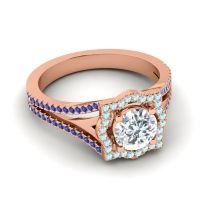Ornate Halo Naksatra Diamond Ring with Aquamarine and Blue Sapphire in 18K Rose Gold