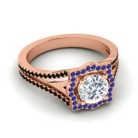 Ornate Halo Naksatra Diamond Ring with Blue Sapphire and Black Onyx in 14K Rose Gold