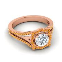 Ornate Halo Naksatra Diamond Ring with Citrine in 18K Rose Gold