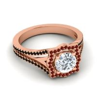 Ornate Halo Naksatra Diamond Ring with Garnet and Black Onyx in 18K Rose Gold