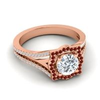 Ornate Halo Naksatra Diamond Ring with Garnet in 18K Rose Gold