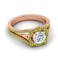 Ornate Halo Naksatra Diamond Ring with Peridot in 14K Rose Gold