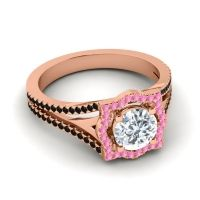Ornate Halo Naksatra Diamond Ring with Pink Tourmaline and Black Onyx in 18K Rose Gold