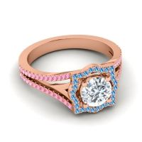 Ornate Halo Naksatra Diamond Ring with Swiss Blue Topaz and Pink Tourmaline in 18K Rose Gold