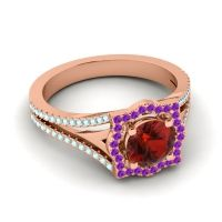 Ornate Halo Naksatra Garnet Ring with Amethyst and Aquamarine in 14K Rose Gold