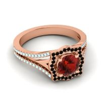 Ornate Halo Naksatra Garnet Ring with Black Onyx and Aquamarine in 14K Rose Gold