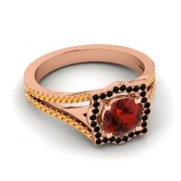 Ornate Halo Naksatra Garnet Ring with Black Onyx and Citrine in 18K Rose Gold