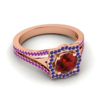Ornate Halo Naksatra Garnet Ring with Blue Sapphire and Amethyst in 18K Rose Gold
