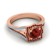 Ornate Halo Naksatra Garnet Ring with Swiss Blue Topaz in 18K Rose Gold
