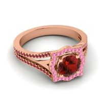 Ornate Halo Naksatra Garnet Ring with Pink Tourmaline and Ruby in 18K Rose Gold