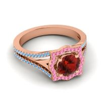Ornate Halo Naksatra Garnet Ring with Pink Tourmaline and Swiss Blue Topaz in 18K Rose Gold
