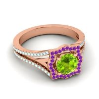 Ornate Halo Naksatra Peridot Ring with Amethyst and Aquamarine in 14K Rose Gold