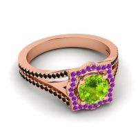 Ornate Halo Naksatra Peridot Ring with Amethyst and Black Onyx in 18K Rose Gold