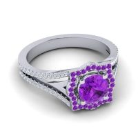 Ornate Halo Naksatra Amethyst Ring with Diamond in 14k White Gold