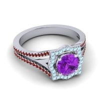 Ornate Halo Naksatra Amethyst Ring with Aquamarine and Garnet in Palladium