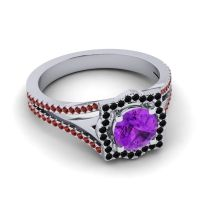 Ornate Halo Naksatra Amethyst Ring with Black Onyx and Garnet in 14k White Gold
