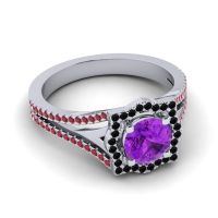 Ornate Halo Naksatra Amethyst Ring with Black Onyx and Ruby in Palladium