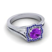 Ornate Halo Naksatra Amethyst Ring with Blue Sapphire and Diamond in Platinum