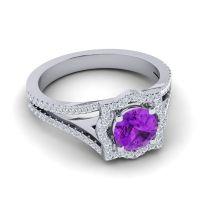 Ornate Halo Naksatra Amethyst Ring with Diamond in Platinum
