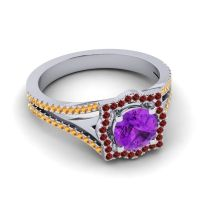 Ornate Halo Naksatra Amethyst Ring with Garnet and Citrine in Platinum