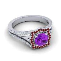 Ornate Halo Naksatra Amethyst Ring with Garnet and Diamond in 14k White Gold