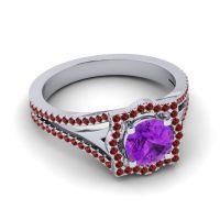 Ornate Halo Naksatra Amethyst Ring with Garnet in 14k White Gold