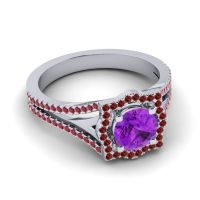 Ornate Halo Naksatra Amethyst Ring with Garnet and Ruby in 18k White Gold