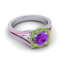 Ornate Halo Naksatra Amethyst Ring with Peridot and Pink Tourmaline in 14k White Gold