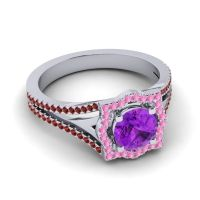 Ornate Halo Naksatra Amethyst Ring with Pink Tourmaline and Garnet in 14k White Gold