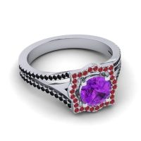 Ornate Halo Naksatra Amethyst Ring with Ruby and Black Onyx in Platinum
