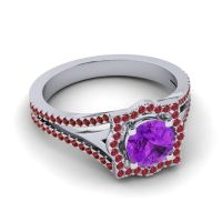 Ornate Halo Naksatra Amethyst Ring with Ruby and Garnet in Platinum