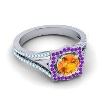 Ornate Halo Naksatra Citrine Ring with Amethyst and Aquamarine in Platinum