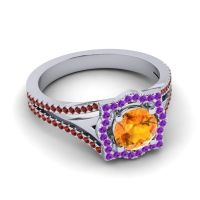 Ornate Halo Naksatra Citrine Ring with Amethyst and Garnet in 18k White Gold