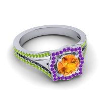 Ornate Halo Naksatra Citrine Ring with Amethyst and Peridot in 14k White Gold